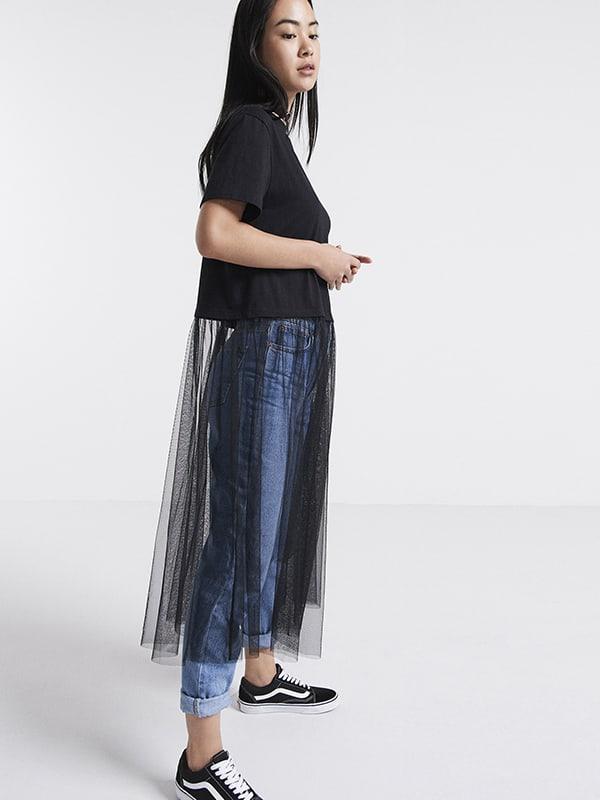 Black Jersey & Mesh T-Shirt Dress
