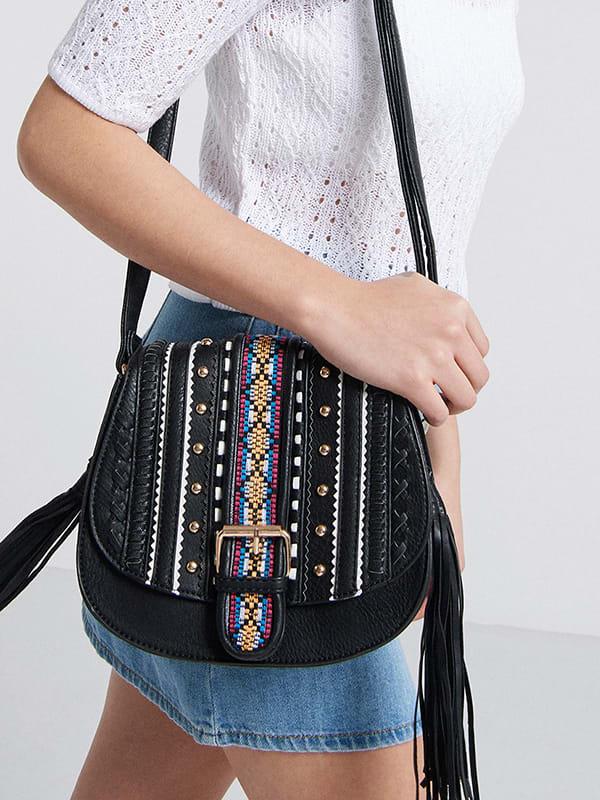 Black Kate Embroidered Saddle Bag