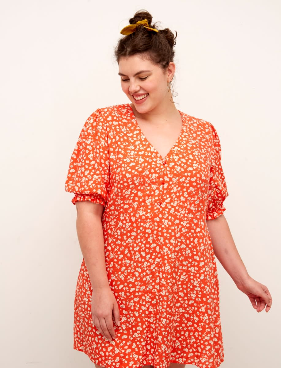 Curve Lenzing™ Ecovero™ Red and White Ditsy Teresa Mini Dress