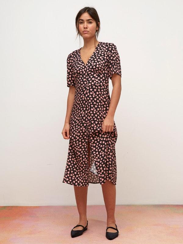 LENZING TM ECOVERO TM Pink and Black Heart Alexa Midi Dress