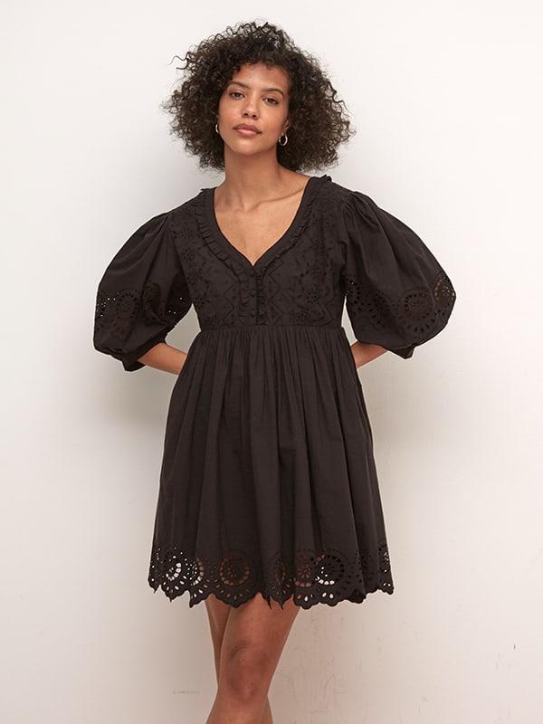 Black Gina Broderie Mini Dress