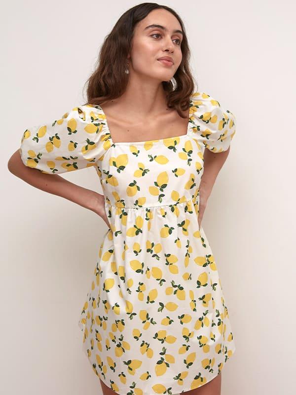 LENZING TM ECOVERO TM White and Yellow Lemon Eugenia Poplin Smock Mini Dress