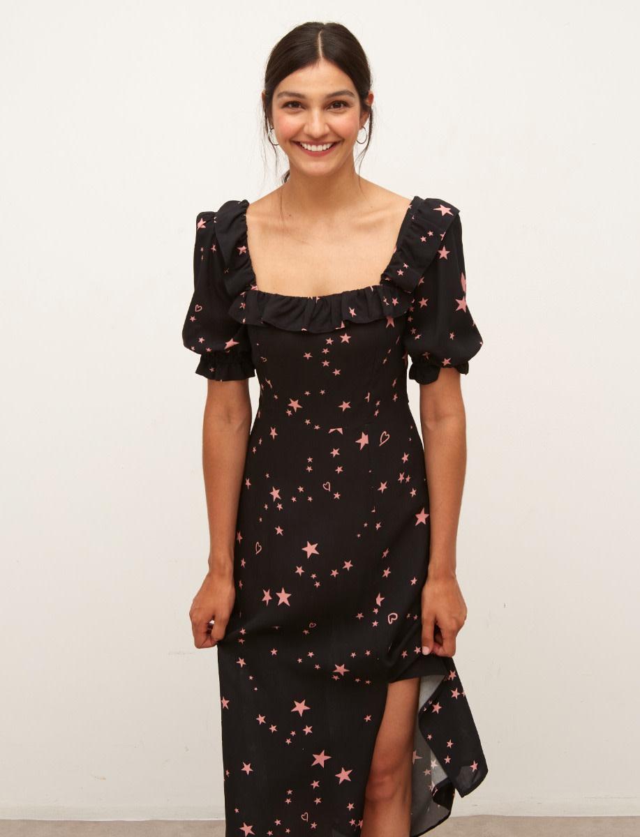 Lenzing™ Ecovero™ Black and Pink Star Kiera Midi Dress