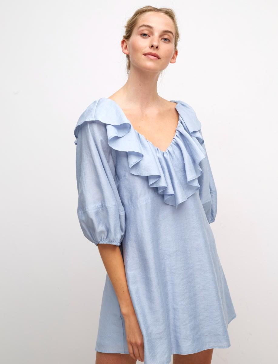Blue Roxy Ruffle Front Mini Dress