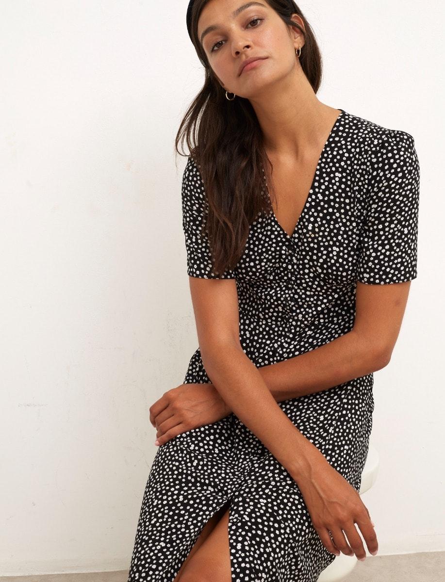 Black and White Ditsy Alexa Midi Dress