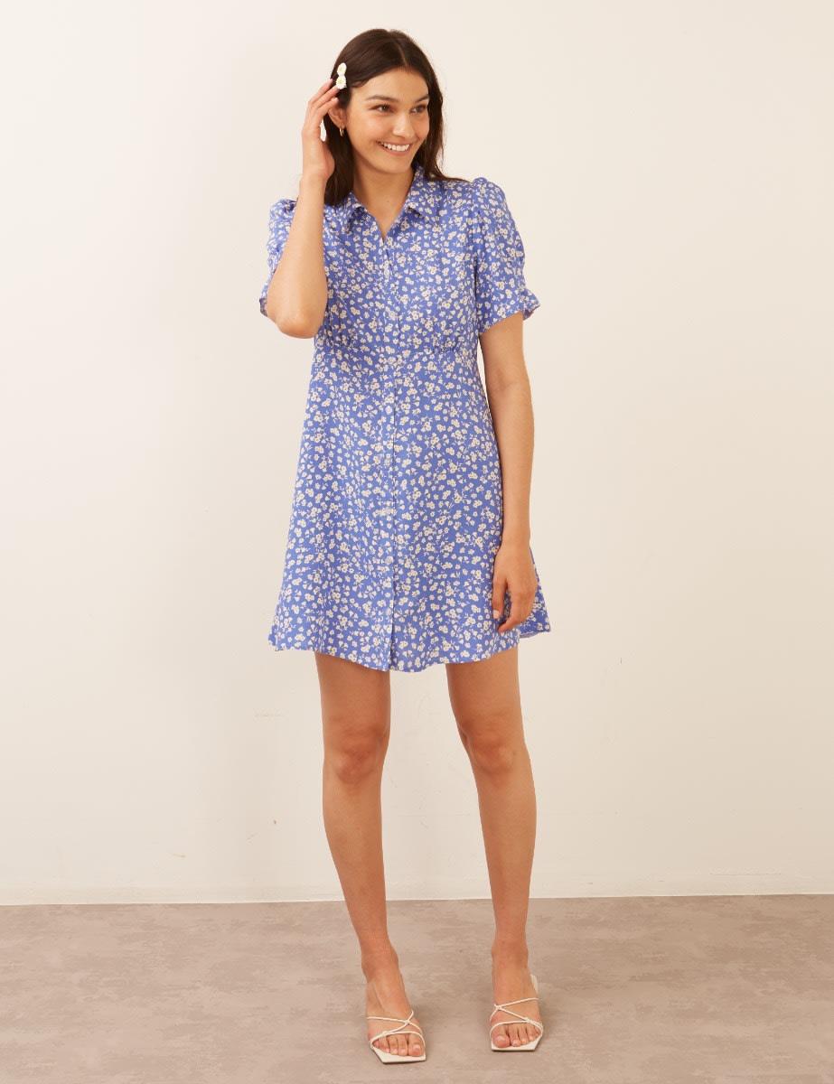 Lenzing Ecovero Blue and White Ditsy Ellen Mini Dress