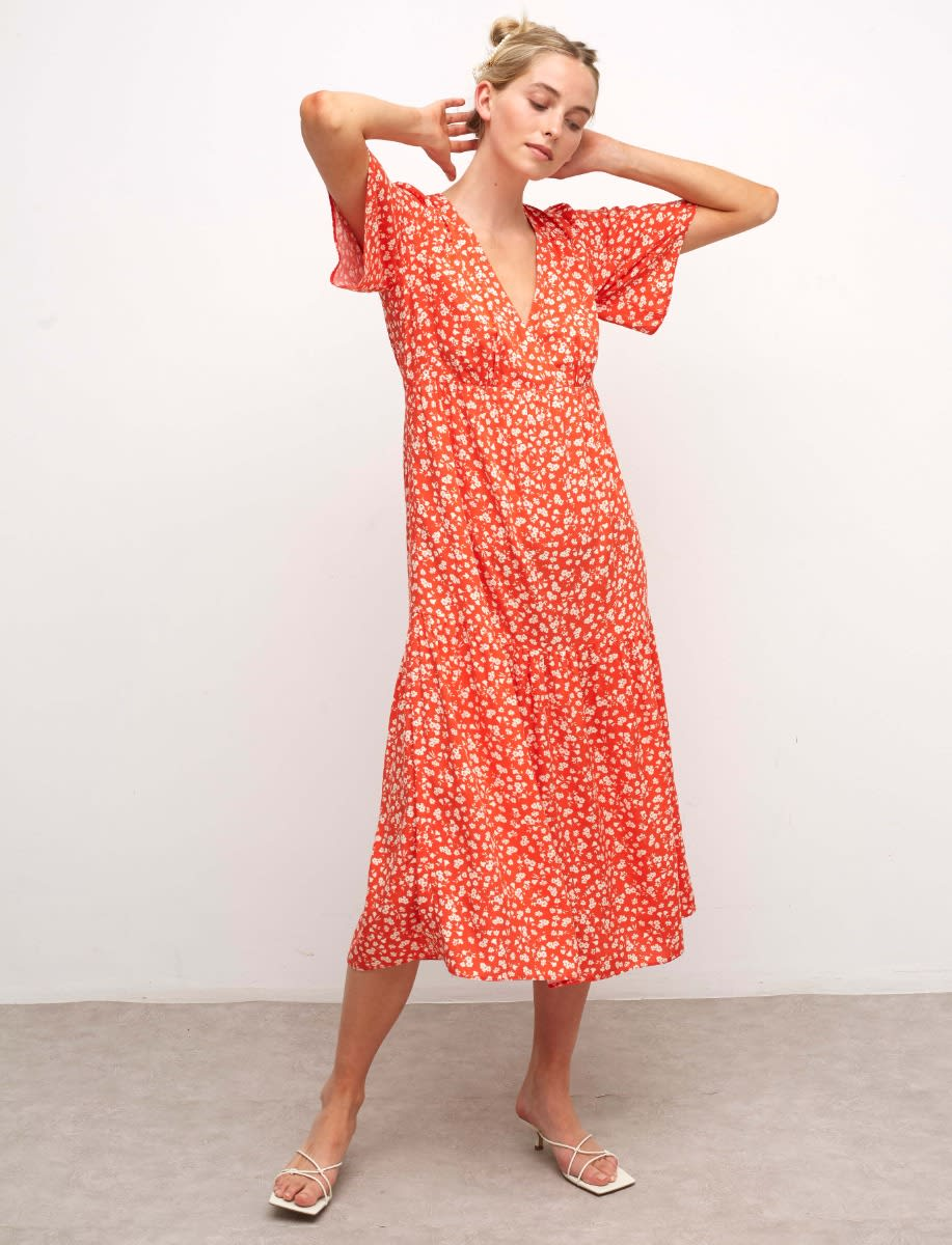Lenzing Ecovero Red and White Ditsy Clementine Midi Dress