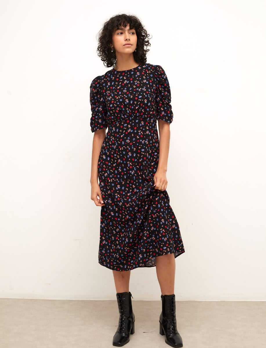 Lenzing Ecovero Black Ditsy Heart and Floral Evie Ruched Sleeve Midi Dress