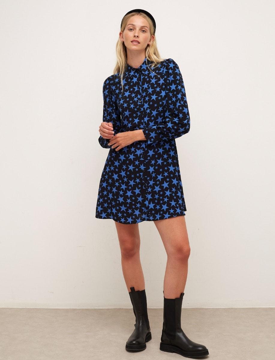 Black and Blue Star Tessie Mini Dress