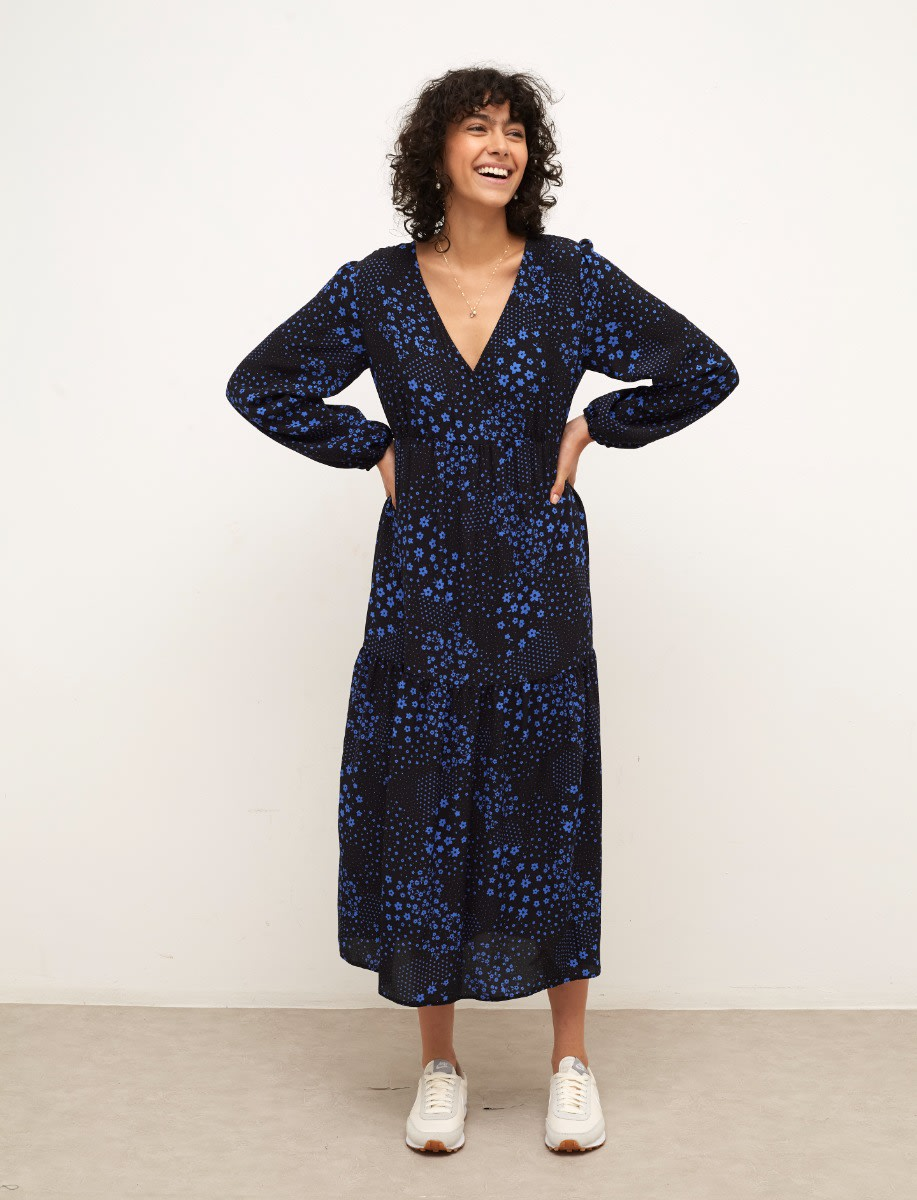 Lenzing Ecovero Black and Blue Ditsy Floral Florence Midi Dress