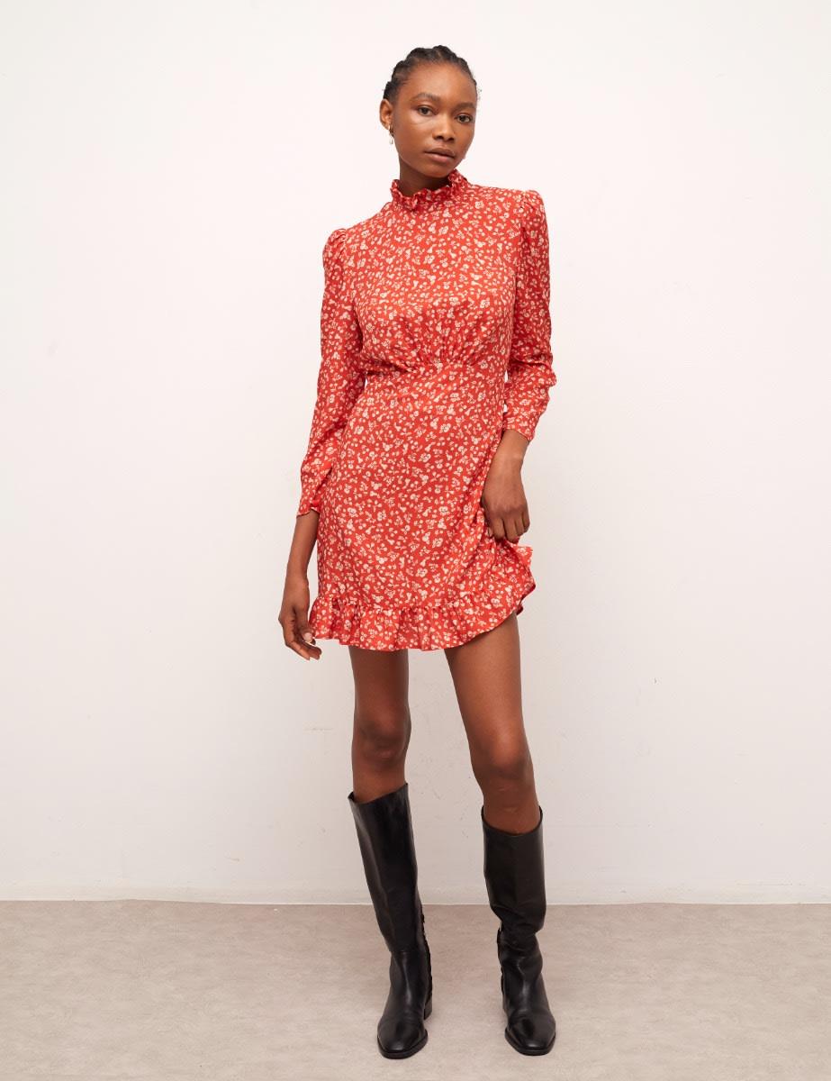 Red Ditsy Fruits Vanessa Mini Dress