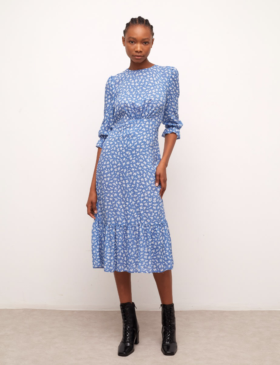 Lenzing Ecovero Blue and White Ditsy Selena Midi Dress