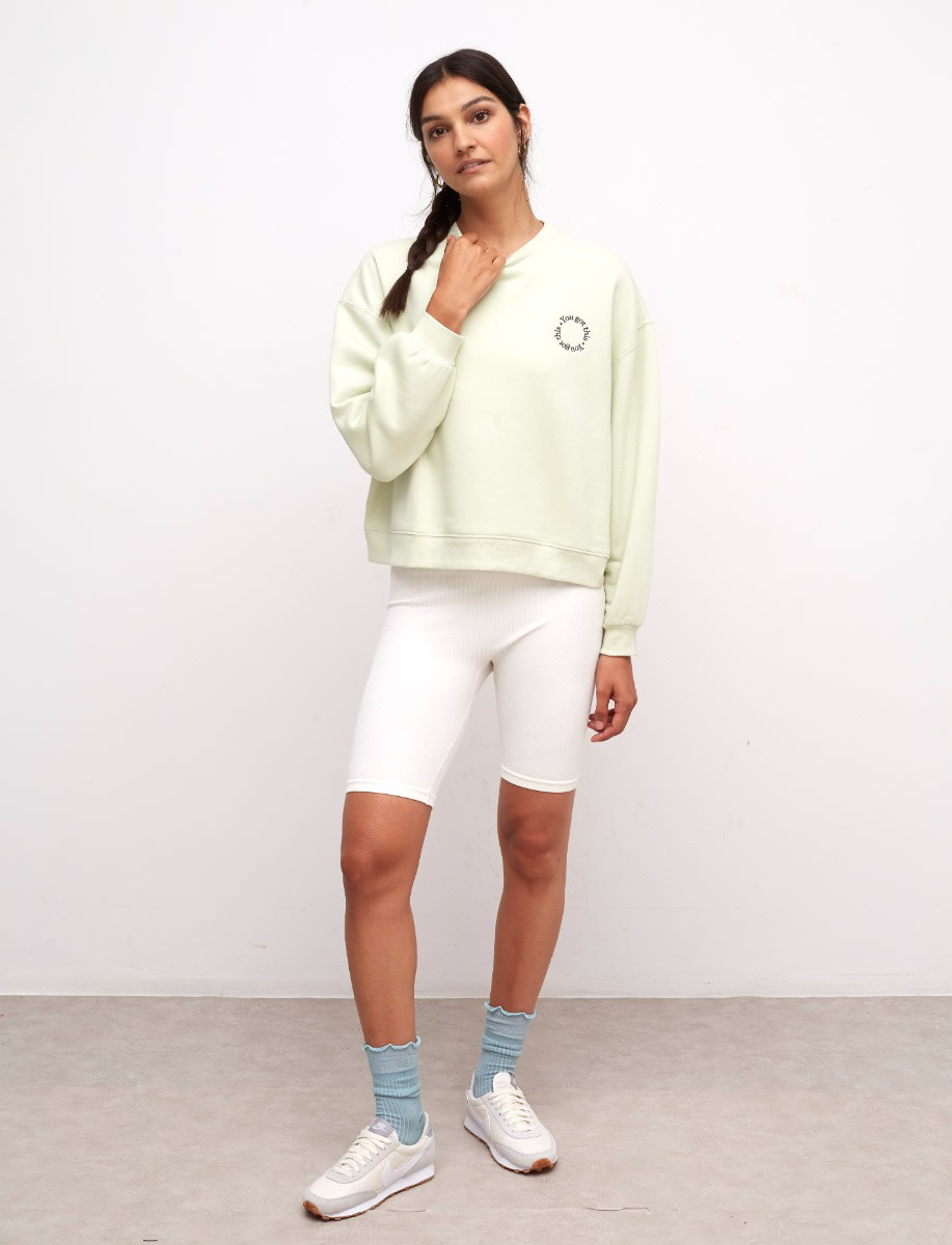 Light Apple You Got This Embroidered Balloon Sleeve Sweater