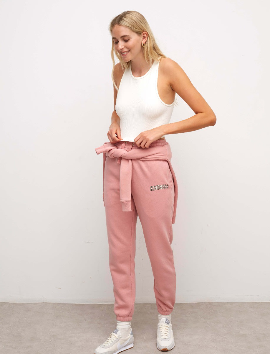 Dusty Pink Kindness Embroidered 90s Jogger