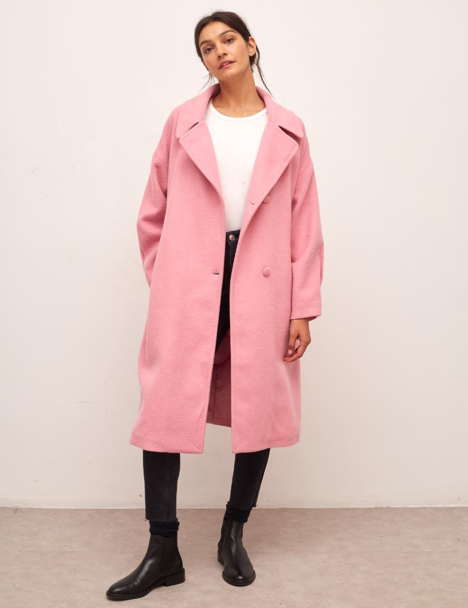 Pink Hadrian Belted Long Wool Coat