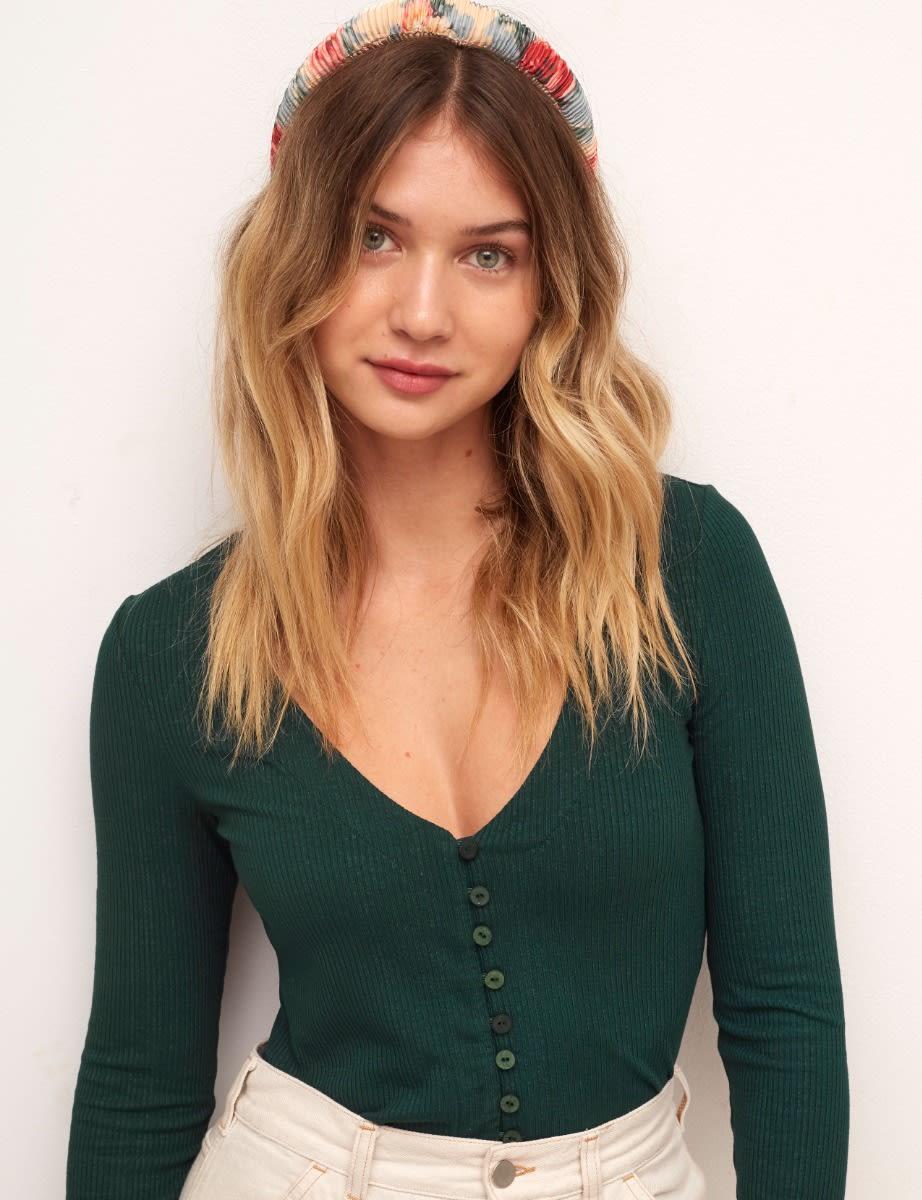 Green Flare Sleeve Button Through Top