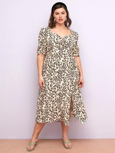 Curve LENZING™ ECOVERO™ Neutral Leopard Rosie Midi Dress