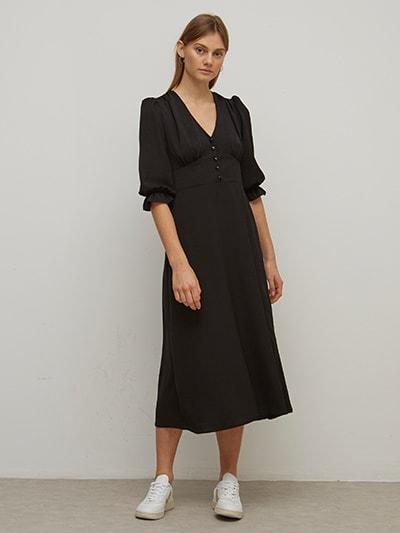 Black Ginny Midi Dress