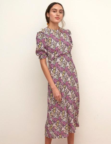 LENZING TM ECOVERO TM Purple Floral Felicia Frill Midi Dress