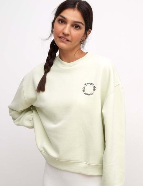Embroidered Balloon Sleeve Sweater