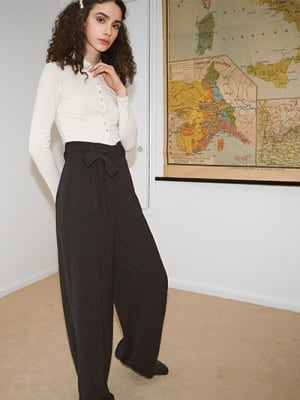 Black Kristina Paperbag Wide Leg Trouser