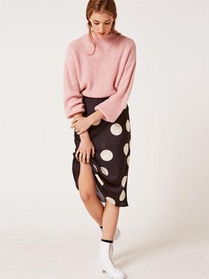 Black and White Spot Katy Bias Satin Midi Skirt