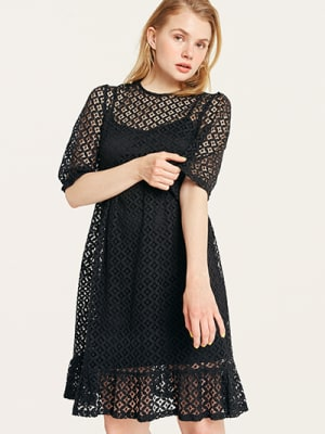 Black Lace Monica Babydoll Mini Dress