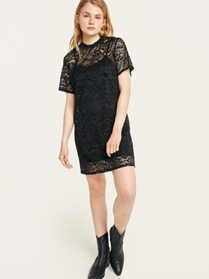 Black Lace Mia T-Shirt Dress