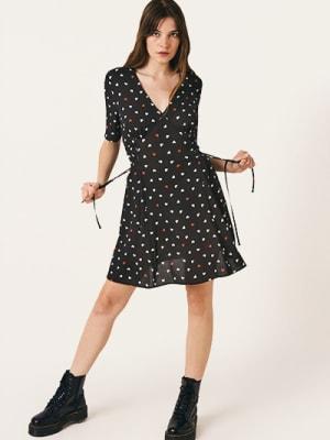 Black and White Heart Clover Mini Dress