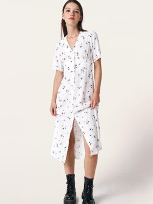 White and Black Dandelion Alexa Midi Dress