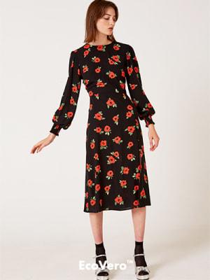 Black and Red Rose Georgie Midi Dress