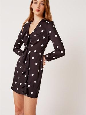 Black and White Spot Charlie Frill Wrap Mini Dress