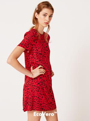 Lenzing™ EcoVero™ Red and Black Animal Ferne Mini Dress