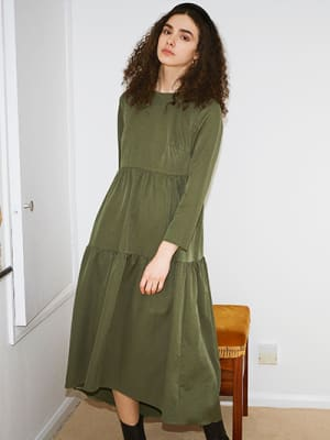 Khaki Vivienne Smock Midi Dress
