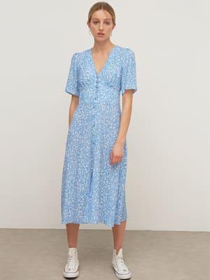 Lenzing EcoVero Blue and White Ditsy Alexa Midi Dress