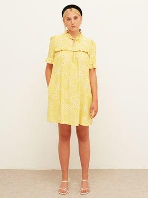 Lenzing TM EcoVero TM Yellow and White Daisy Mary Frill Mini Dress