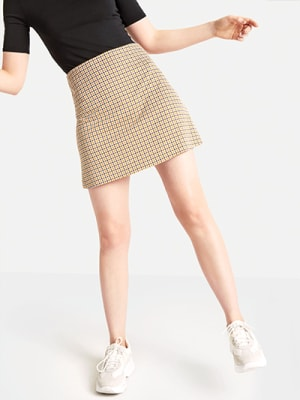 Yellow Check Mini Skirt