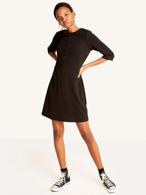 Black Button Front Mini Dress