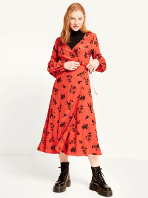 Rust Perry Floral Tie Sleeve Detail Midi Wrap Dress