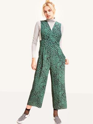 Green Lenny Leopard Wide Strap Culotte Jumpsuit