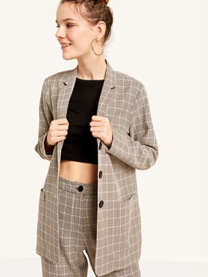 Betty Check Pocket Front Blazer