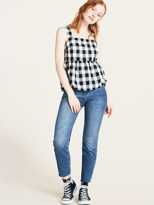Black and White Gingham Bonnie Peplum Cami Top