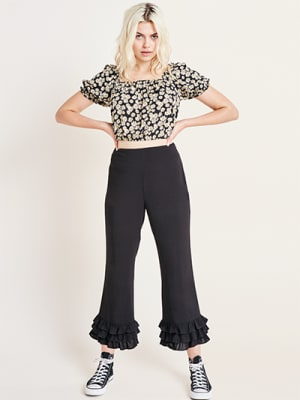 Black Frill Hem Cropped Trouser
