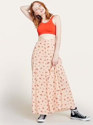 Pink Floral Ditsy Print Sabrina Maxi Skirt