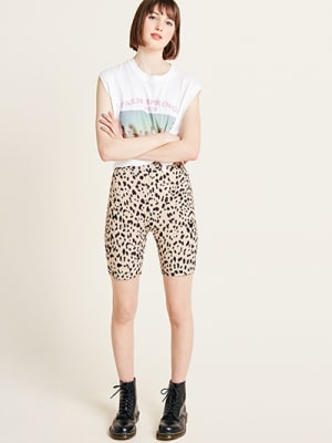 Cream Leopard Print Courtney Cycling Short