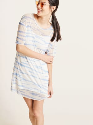 Blue Tie Dye Mesh Mia Boxy T-Shirt Dress