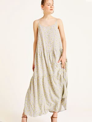 Grey and Mustard Floral Livvy Maxi Dress