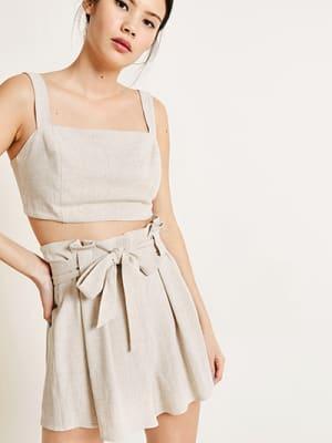 Natural Coco Linen Blend Paperbag Short