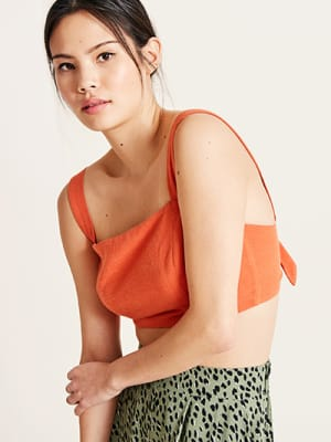 Orange Bella Linen Blend Crop Top