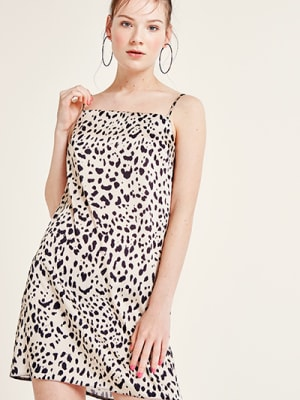 Cream and Black Leopard Victoria Cami Mini Dress